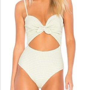 Cabana one-piece by Montce Swim in vert gingham